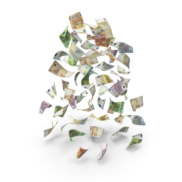 Rain of Falling Euro Banknote Bills PNG & PSD Images