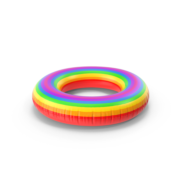Pool Toy: Rainbow Inflatable Rubber Ring PNG & PSD Images