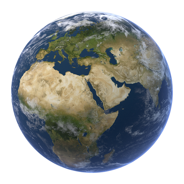 Realistic earth with clouds PNG & PSD Images