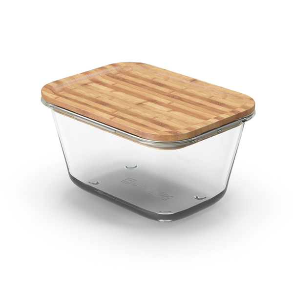 Rectangular Glass Food Container with Bamboo Lid 1800ml PNG & PSD Images