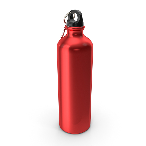 Red Aluminum Water Bottle with Carabiner PNG & PSD Images