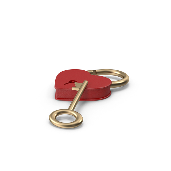 Red and Gold Heart Shaped Padlock and Key PNG & PSD Images