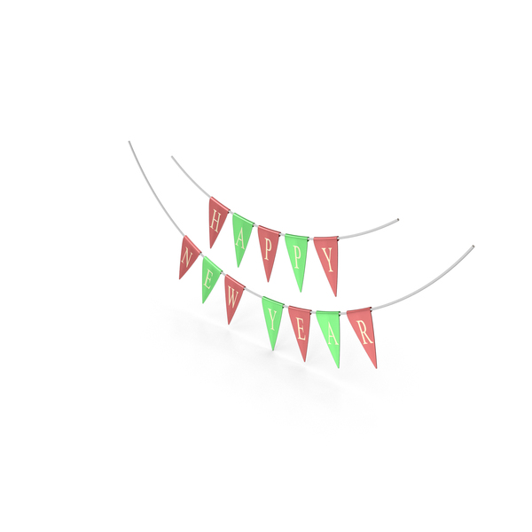 Red and Green Happy New Year Garland PNG & PSD Images