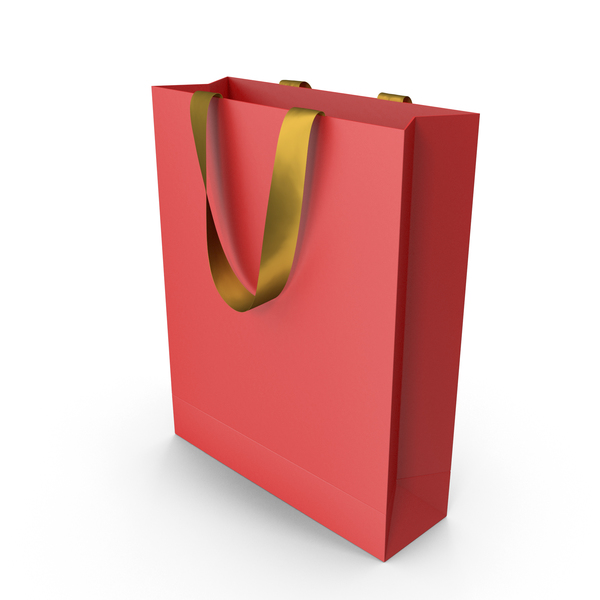 Gift: Red Bag with Gold Ribbon Handles PNG & PSD Images