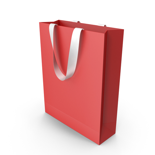 Gift: Red Bag with White Ribbon Handles PNG & PSD Images