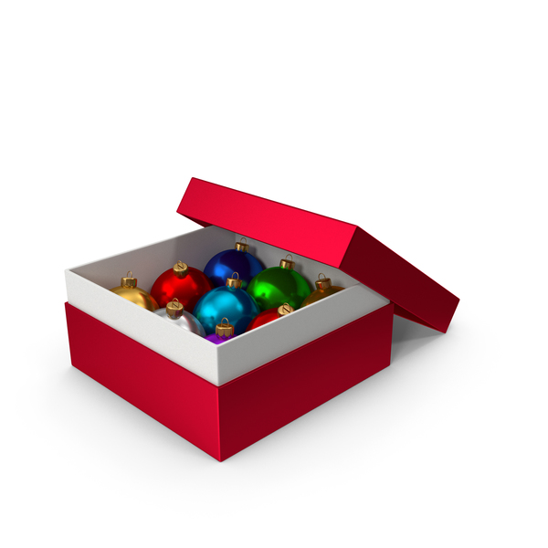 Christmas Ball: Red Box With Ornaments PNG & PSD Images