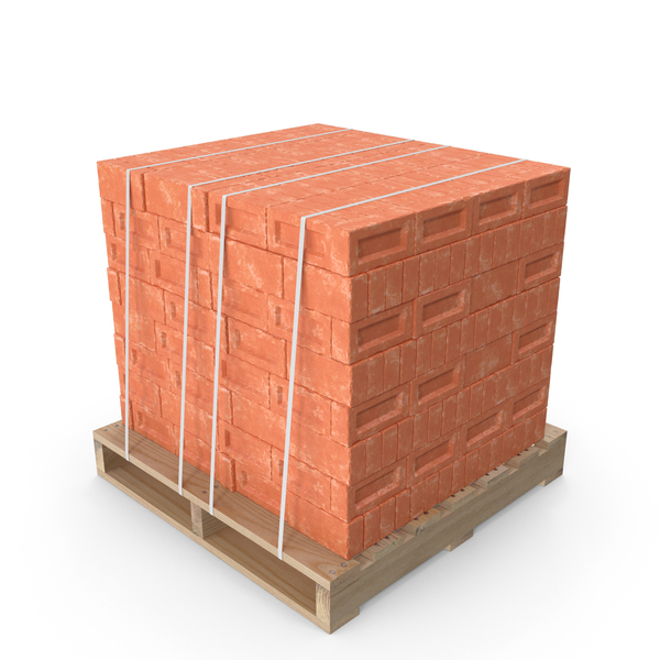 Red Bricks Stacked On Wooden Pallet PNG & PSD Images