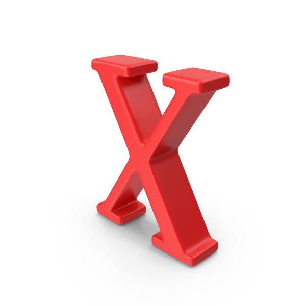 Red Capital Letter X Object