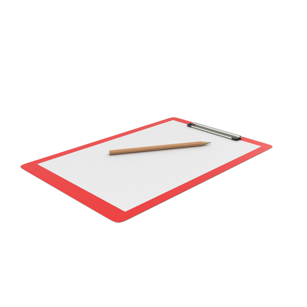 Red Clipboard And Pencil PNG & PSD Images