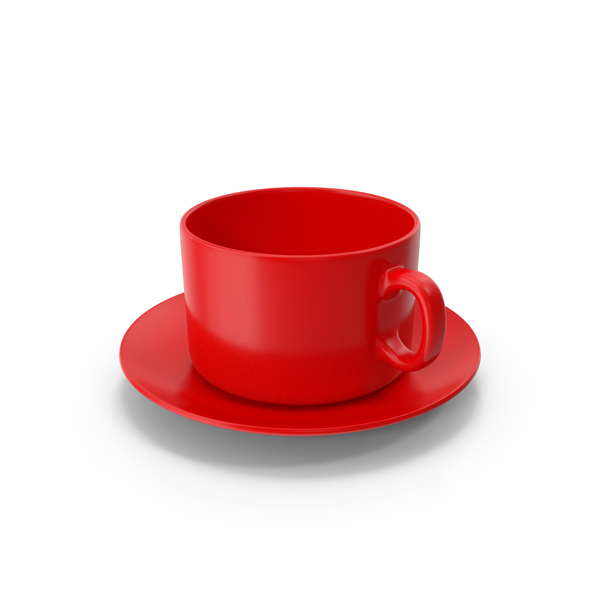Teacup: Red Coffee Cup With Plate Empty PNG & PSD Images