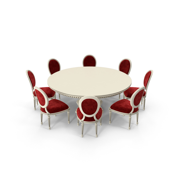 Red Fabric Velvet Round Dining Table Set PNG & PSD Images