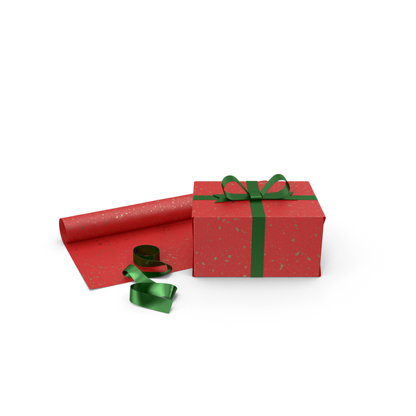 Bag: Red Gift Box with Paper Roll and Green Foil Ribbon PNG & PSD Images