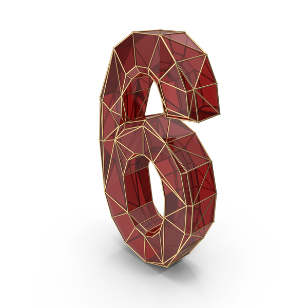 Red Glass Alphabet with Golden Edges Number 6 PNG & PSD Images