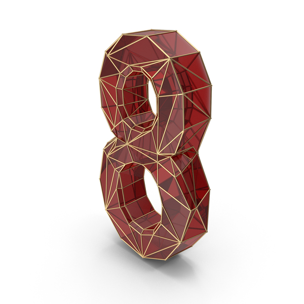 Red Glass Alphabet with Golden Edges Number 8 PNG & PSD Images