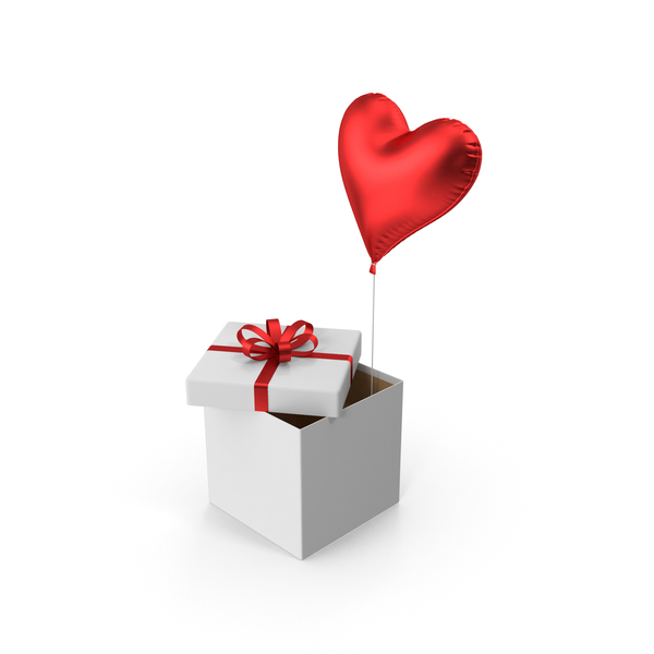 Gift: Red Heart Balloon Box PNG & PSD Images