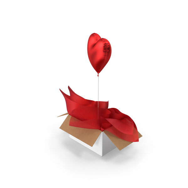 Red Heart Balloon Surprise Box PNG & PSD Images