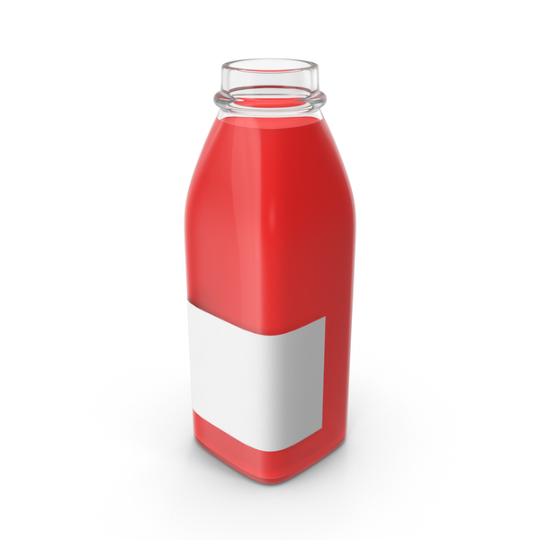 Red Juice Bottle Mockup Open Object