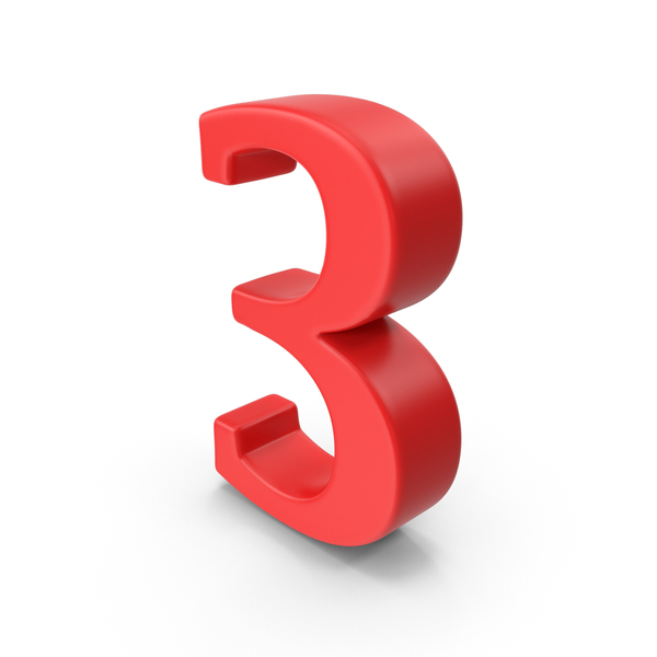 Red Number 3 PNG & PSD Images