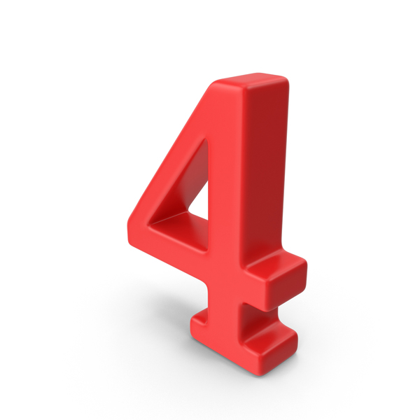 Red Number 4 PNG & PSD Images