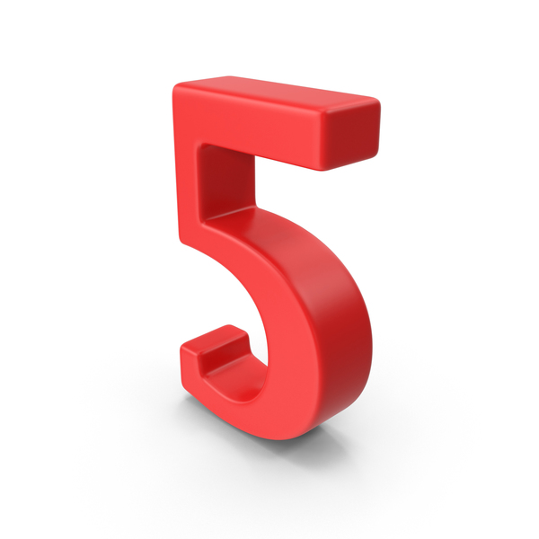 Red Number 5 PNG & PSD Images