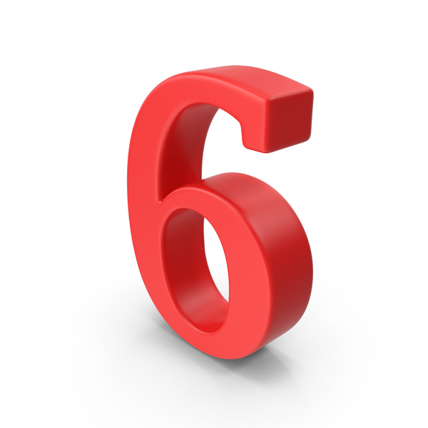 Red Number 6 PNG & PSD Images