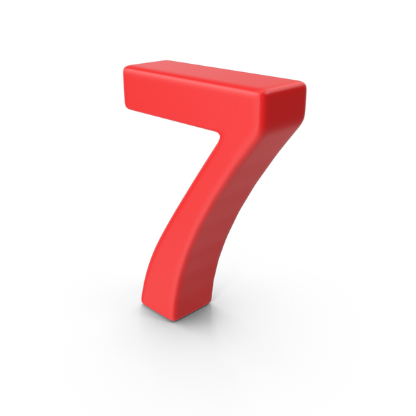 Red Number 7 PNG & PSD Images