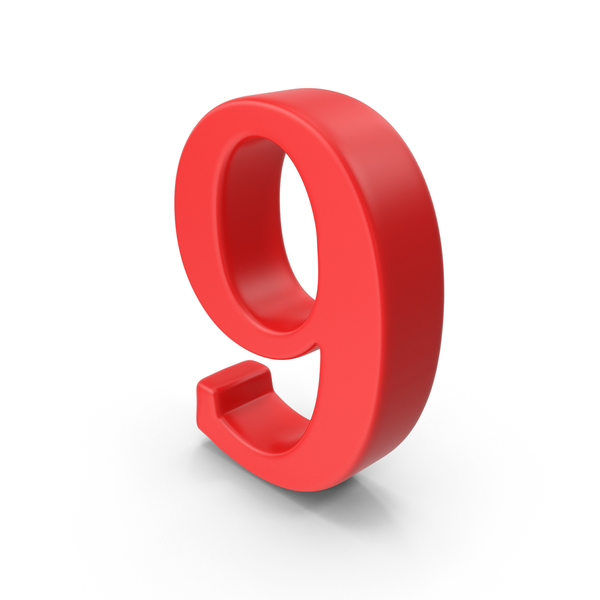 Red Number 9 PNG & PSD Images