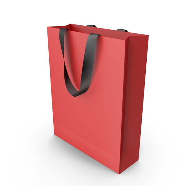 Red Packaging Bag with Black Tape Handles PNG & PSD Images