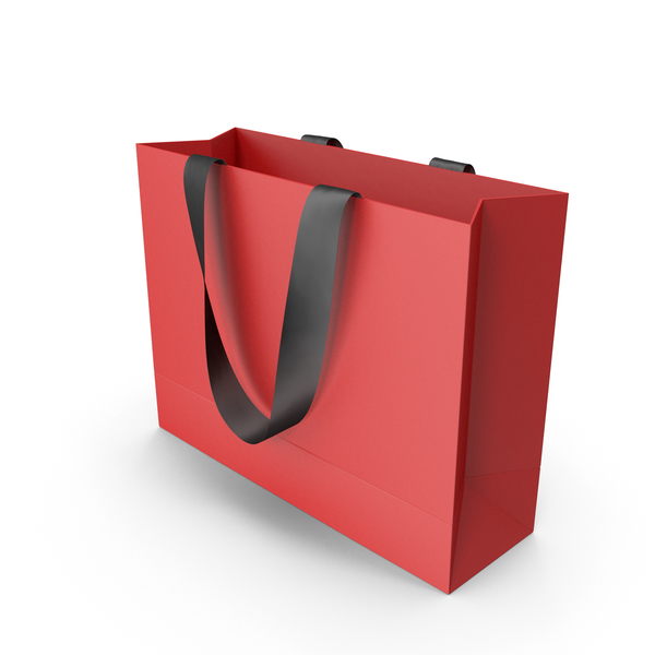 Gift: Red Packaging Bag with Black Tape Handles PNG & PSD Images