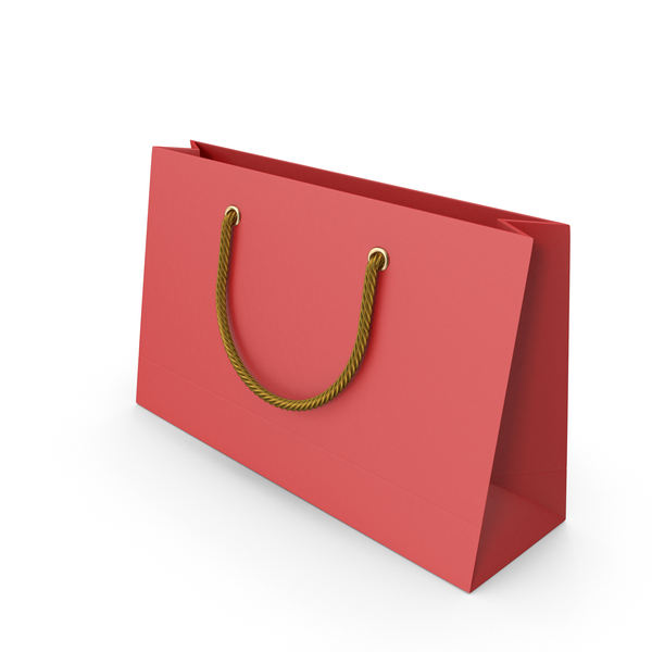 Gift: Red Packaging Bag with Gold Handles PNG & PSD Images