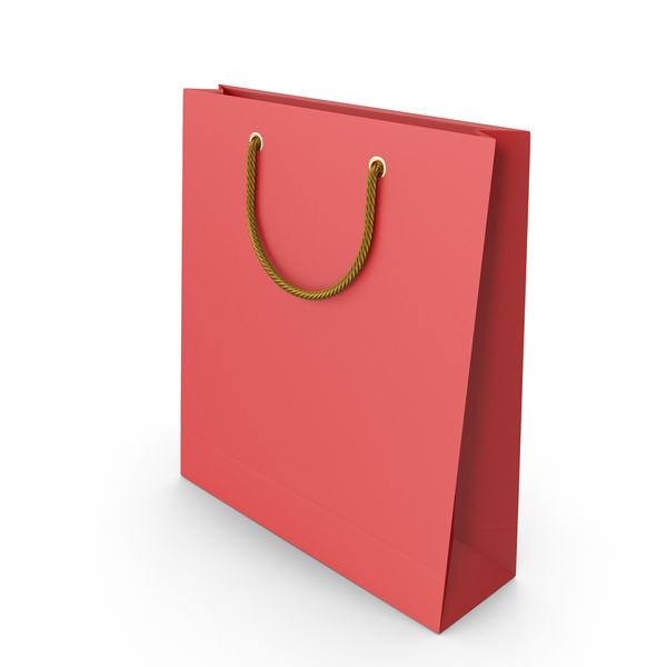 Red Packaging Bag with Gold Handles PNG & PSD Images