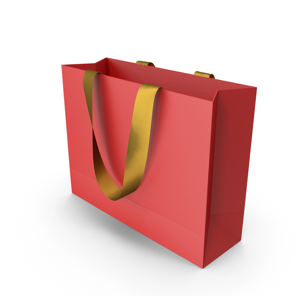 Gift: Red Packaging Bag with Gold Tape Handles PNG & PSD Images