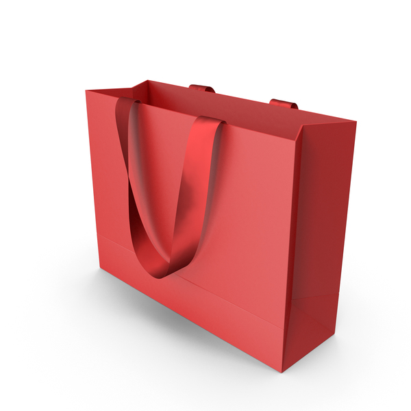 Gift: Red Packaging Bag with Red Tape Handles PNG & PSD Images