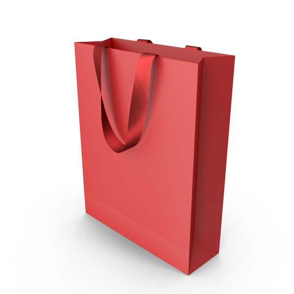 Red Packaging Bag with Red Tape Handles PNG & PSD Images