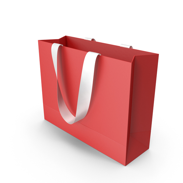 Red Packaging Bag with White Tape Handles PNG & PSD Images