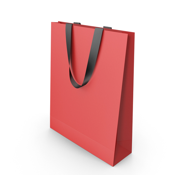 Gift: Red Paper Bag with Black Handles PNG & PSD Images