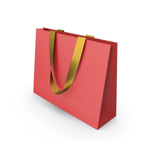 Red Paper Bag with Gold Handles PNG & PSD Images