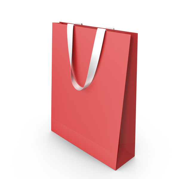 Gift Bag: Red Paper Handles with White Handles PNG & PSD Images