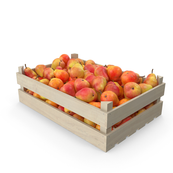Pear: Red Pears Wooden Crate PNG & PSD Images
