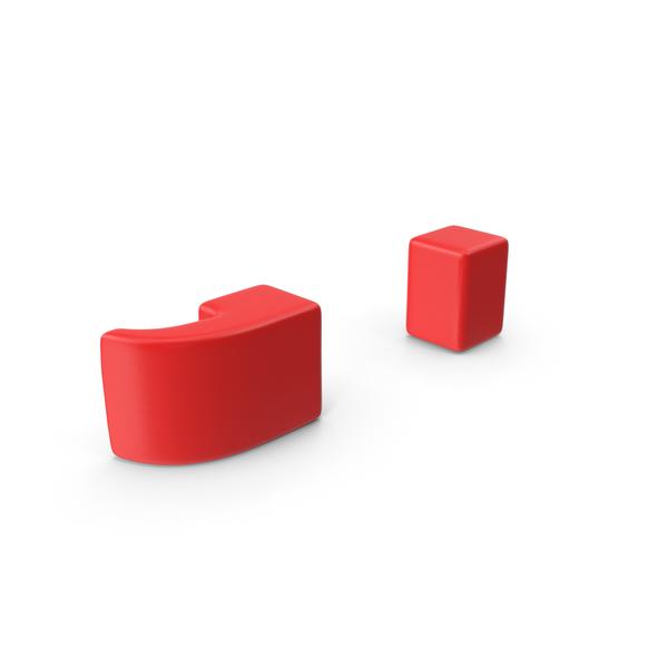 Red Semicolon Symbol Object
