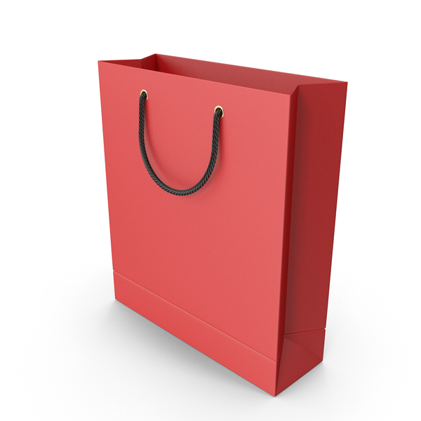 Red Shopping Bag with Black Handles PNG & PSD Images