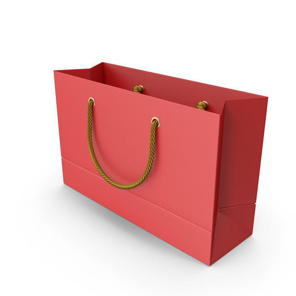Red Shopping Bag with Gold Handles PNG & PSD Images