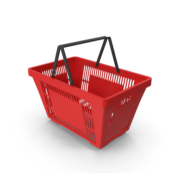 Red Shopping Basket with Plastic Handles PNG & PSD Images