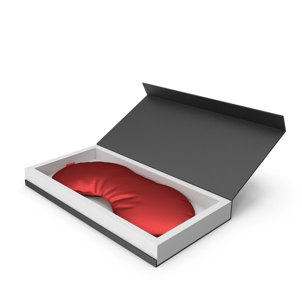 Red Silk Sleep Mask with Gift Box PNG & PSD Images