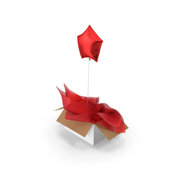 Gift: Red Star Balloon Surprise Box PNG & PSD Images