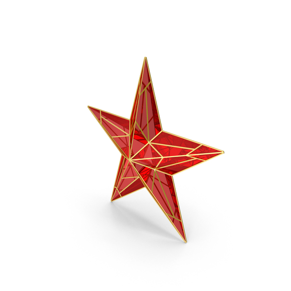 Red Star With Golden Edges PNG & PSD Images