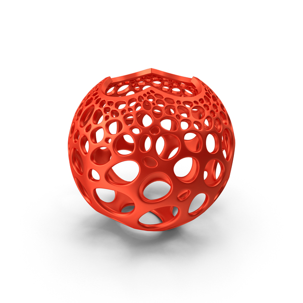 Red Stereographic Voronoi Sphere PNG & PSD Images