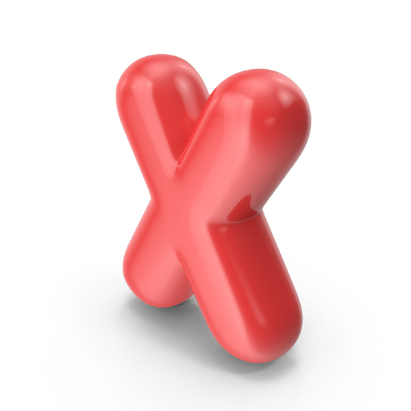 Red Toon Balloon Letter X PNG & PSD Images