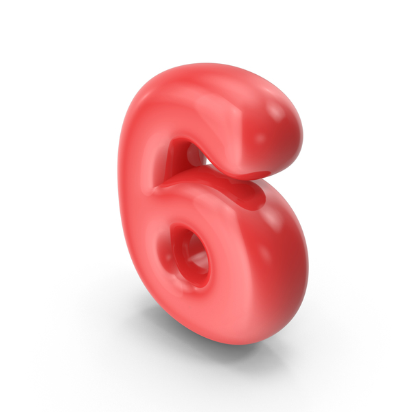 Red Toon Balloon Number 6 PNG & PSD Images
