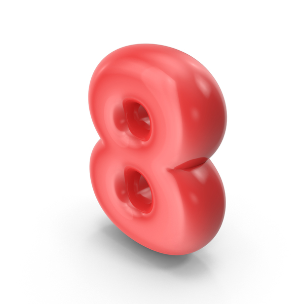 Red Toon Balloon Number 8 PNG & PSD Images